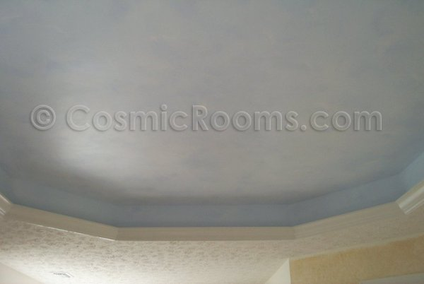 another view of tray ceiling with clouds and stars